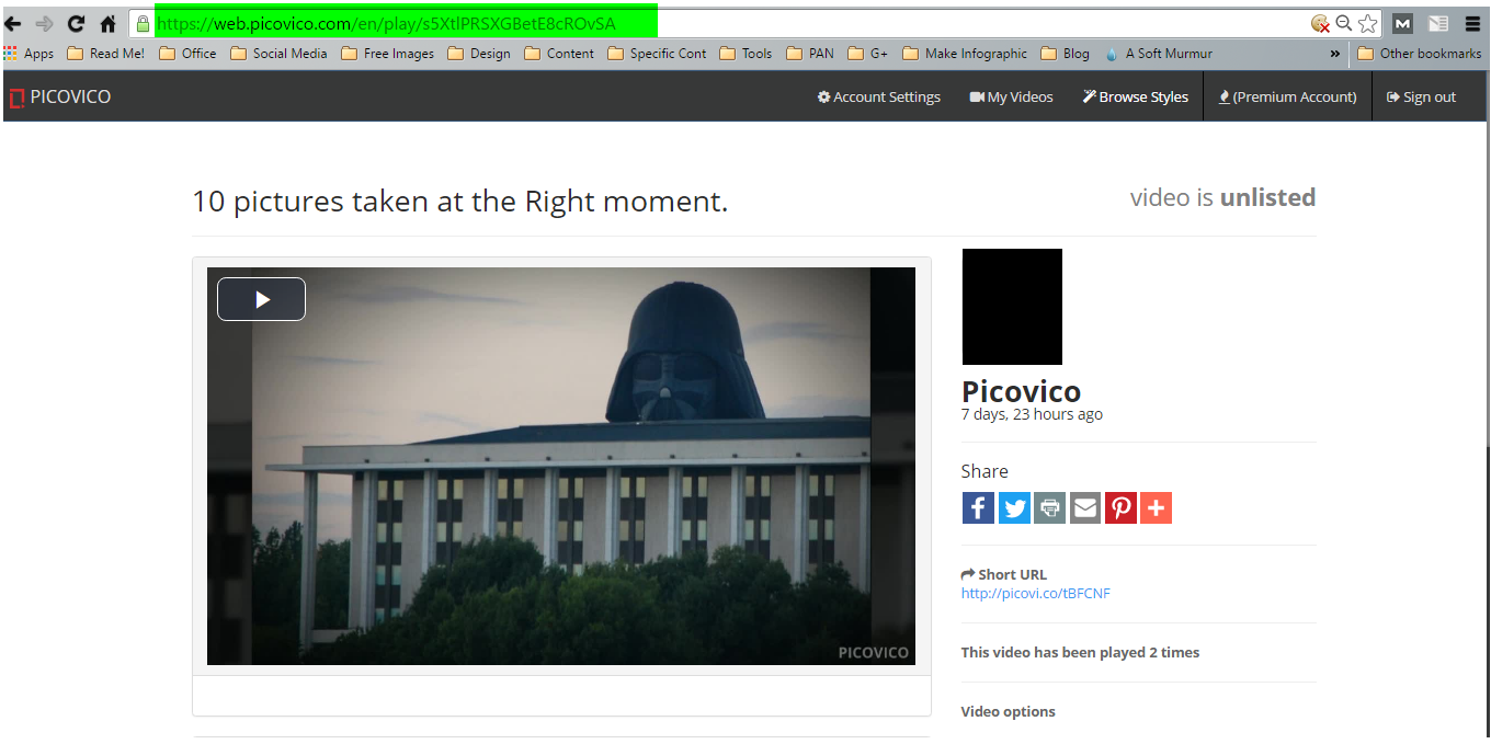 Page URL of picovico video